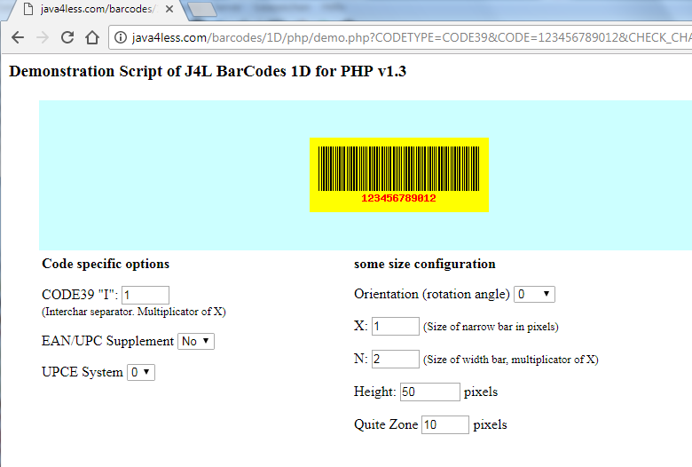 J4L Barcodes 1D for Php Demo